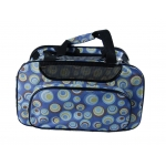 Blue designer dog travel bag with geometric circles